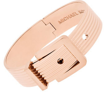 MICHAEL Michael Kors Michael Kors Cubic Zirconia and Ridged Rose Goldtone Stainless Steel Hinged Bangle Bracelet