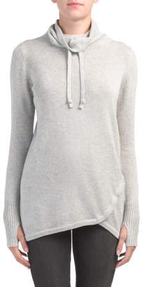 Active Drawstring Cowl Neck Sweater