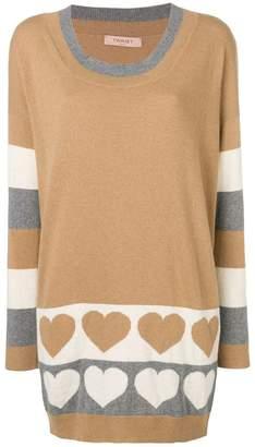 Twin-Set long heart knit sweater