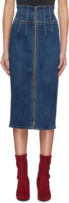 Current/Elliott 'The Trilby' stud zip front denim pencil skirt