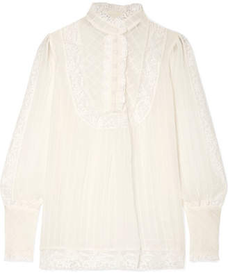 Zimmermann Unbridled Lace-trimmed Silk-georgette Blouse - Off-white