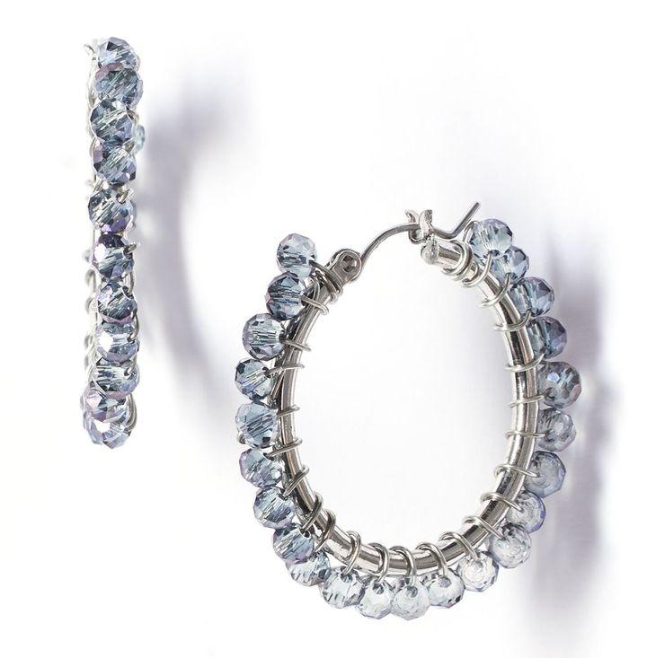 Vera Wang Simply vera bead hoop earrings