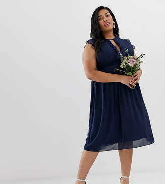 TFNC Plus lace detail midi bridesmaid dress in navy