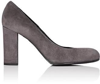 Barneys New York Women's Chunky-Heel Suede Pumps $295 thestylecure.com
