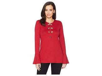 MICHAEL Michael Kors Grommet Lace-Up Bell Sleeve