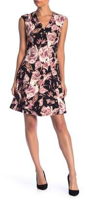 London Times Floral Fit And Flare Dress (Petite)