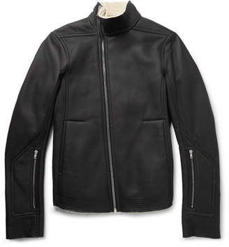 Rick Owens Mollino Slim-Fit Shearling Biker Jacket