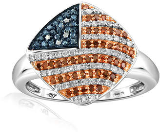 FINE JEWELRY 1/3 CT. T.W. White and Color-Enhanced Red and Blue Diamond Sterling Flag Ring