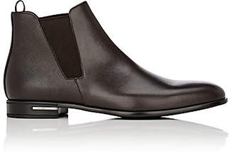Prada Men's Saffiano Leather Chelsea Boots - Brown
