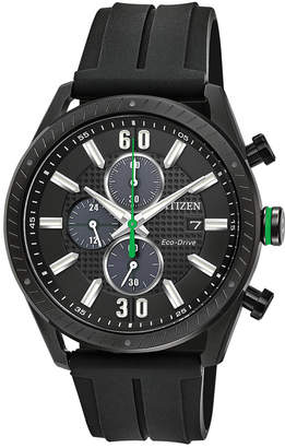 Citizen Drive from Eco-Drive Men's Chronograph Black Polyurethane Strap Watch 43mm