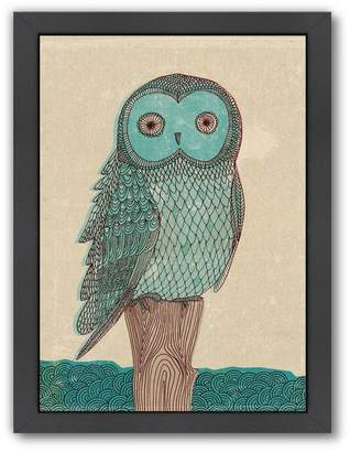 Americanflat Paula Mills ''Owl In Blue Monotone'' Framed Wall Art