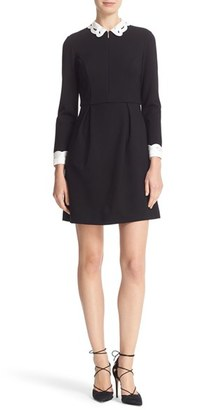 Women's Ted Baker London Embroidered Collar Fit & Flare Dress $295 thestylecure.com