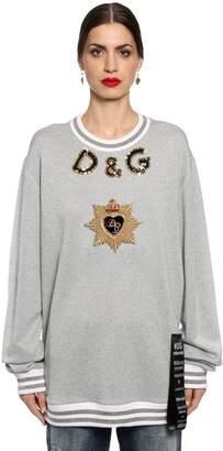 Dolce & Gabbana Sequined Heart Cotton Blend Sweatshirt