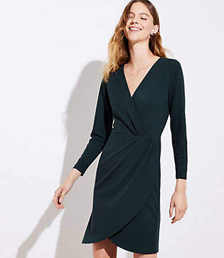LOFT Shirred Wrap Dress