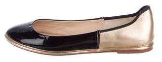 Diane von Furstenberg Metallic Round-Toe Flats