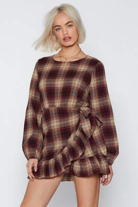 Nasty Gal Plaid to See the Back of You Wrap Dress