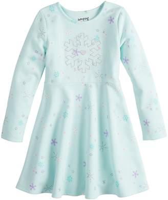 Girls 4-12 Jumping Beans Print Fleece Skater Dress
