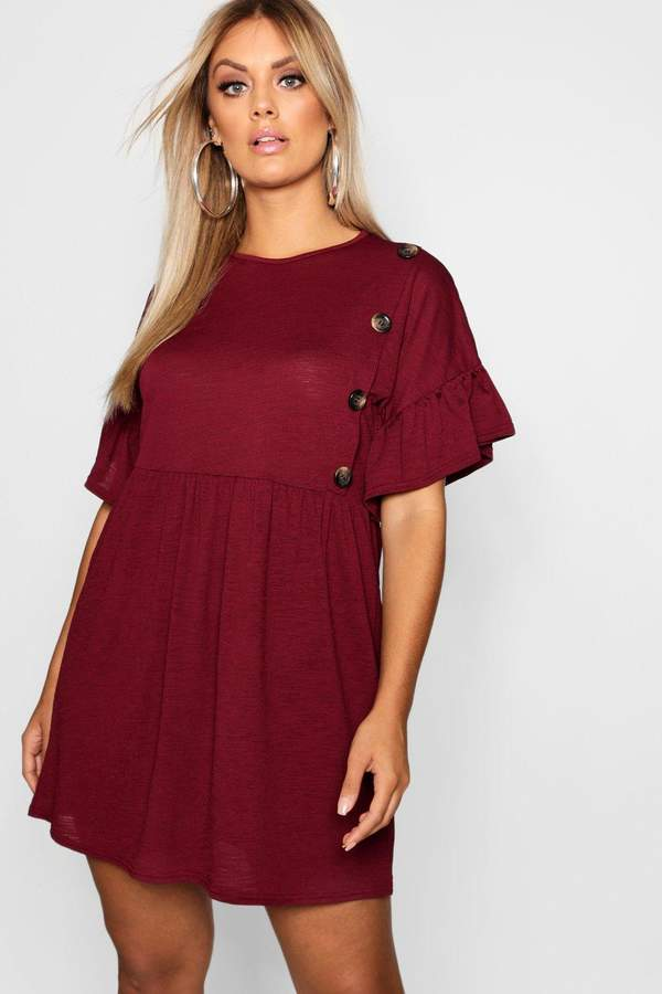 boohoo Plus Horn Button Frill Skater Dress