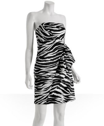 A.B.S. black white zebra printed sateen dress