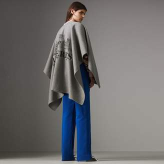 Burberry Embroidered Skyline Cashmere Poncho , Size: XS/S