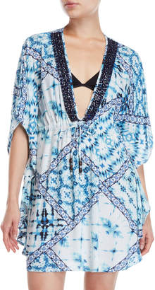 Blue Island Printed V-Neck Cover-Up Dress