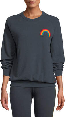 Aviator Nation Embroidered Rainbow Crewneck Sweatshirt