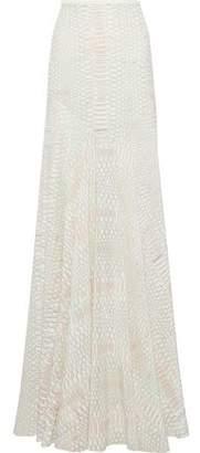 Roberto Cavalli Snake-Print Silk Crepe De Chine Maxi Skirt