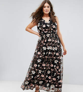 Truly You All Over Embroidered V Neck Maxi Dress