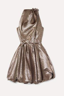 Maticevski Orbit Draped Textured-lamé Mini Dress - Silver