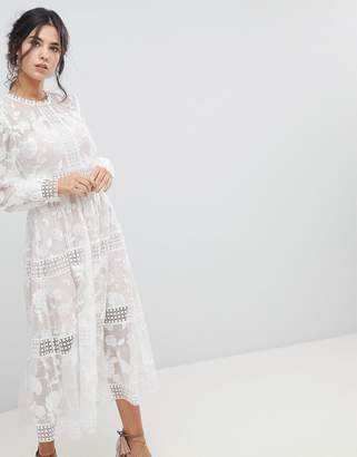 Forever New Floral Organza Sheer Midaxi Dress
