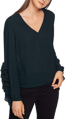 1 STATE 1.STATE Ruffle-Sleeve V-Neck Top