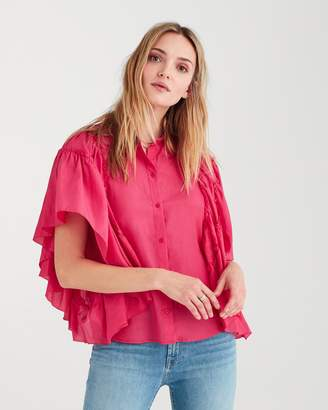 7 For All Mankind Butterfly Sleeve Top in Hot Pink