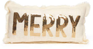 Merry Sequin Embroidered Pillow