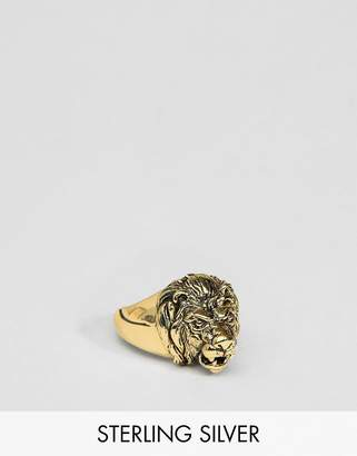 Asos DESIGN Sterling Silver Lion Head Ring With Burnished Gold Plating