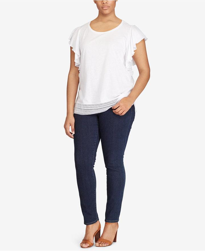 Lauren Ralph LaurenLauren Ralph Lauren Plus Size Flutter-Sleeve T-Shirt