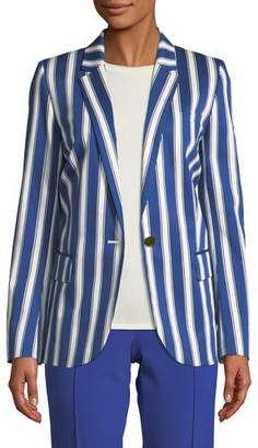 Escada Cabana-Stripe One-Button Sateen Blazer