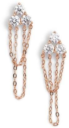 Nadri Chain Loop Cubic Zirconia Drop Earrings