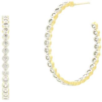 Freida Rothman 14k Fleur Bloom Cubic Zirconia Hoop Earrings