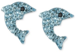 Betsey Johnson Silver-Tone Blue Pave Dolphin Stud Earrings