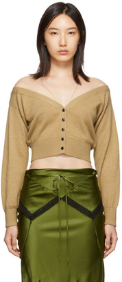 Alexander Wang Tan Fitted Cropped Cardigan