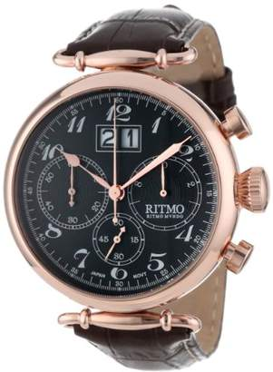 Ritmo Mundo Unisex 701/5 RG Brown Corinthian Classic Quartz Chronograph Three Oversized Subdials Watch