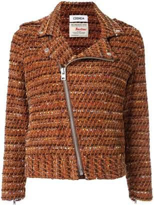 Coohem velvet tweed biker jacket