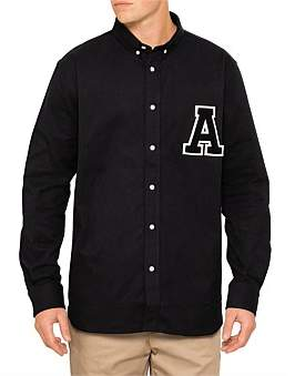 Ami Varsity A Patch Button Down Shirt