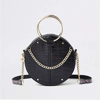 River Island Black croc ring handle circle cross body bag