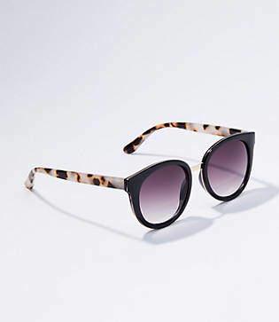 LOFT Metallic Bridge Cateye Sunglasses