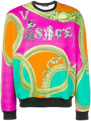 Versace baroque print logo sweatshirt