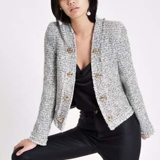 River Island White and black long sleeve boucle jacket