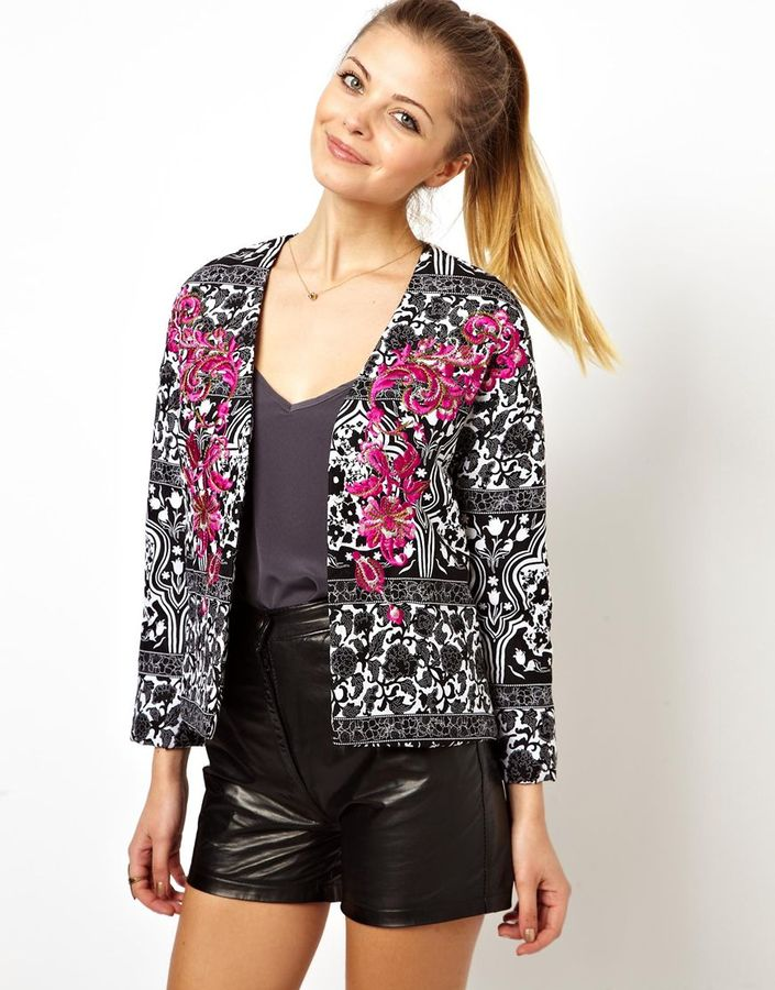 Asos Jacket in Print with Embroidery - Multi