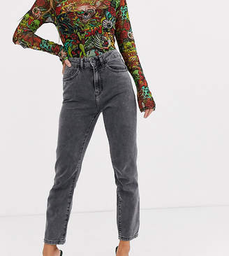 Noisy May Petite straight leg jeans in washed black