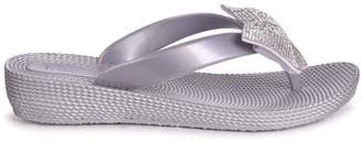 Linzi TERRI - Silver Wedged Jelly Flip Flop With Diamante Bow